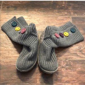 Gray Knit Colorful Felt Button Down Uggs Sz 2